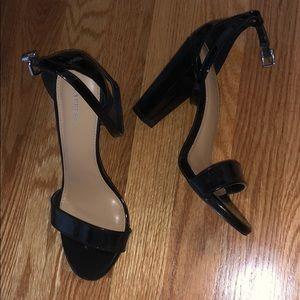 shiny black heels